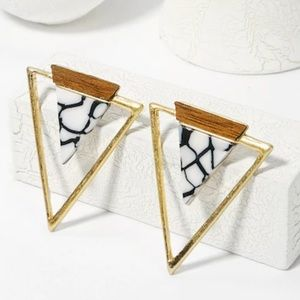 Gold Triangle Stud Earrings with Wood and Marble